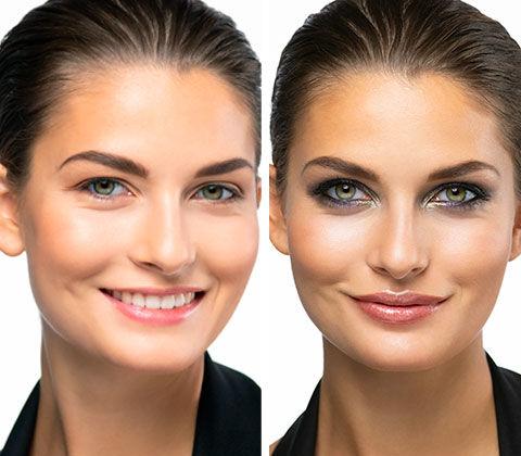 Vorher/Nachher des X-Mas Make-up Schminktipps