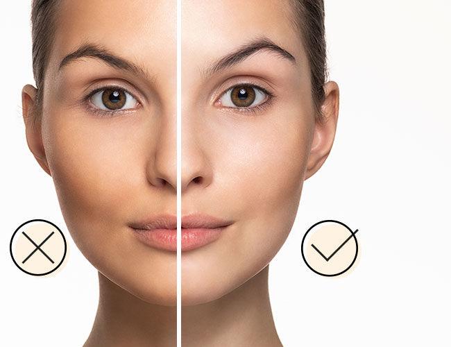 Puder: Eine Gesichtshälfte ist richtig geschminkt, die andere nicht.