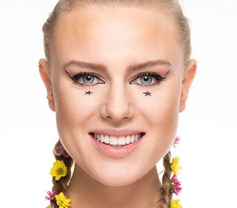 Vorher/Nacher des Festival Make-ups