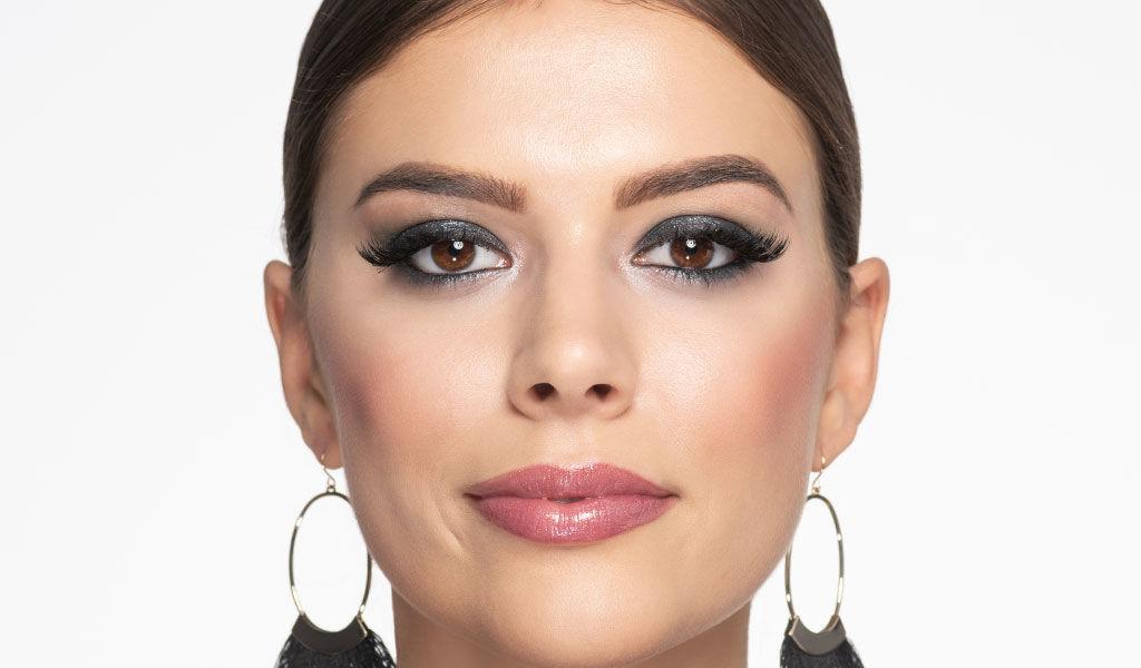 Vorher/Nachher des Silvester Make-ups