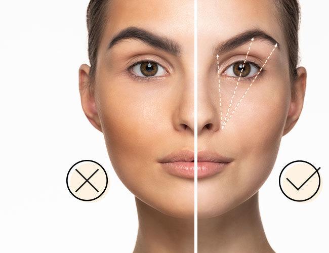 Augenbrauen: Eine Gesichtshälfte ist richtig geschminkt, die andere nicht.