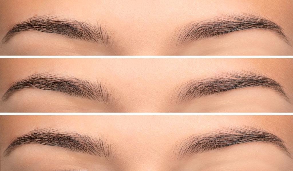 Vorher/Nachher-Effekt zum Schminktipp Augenbrauen