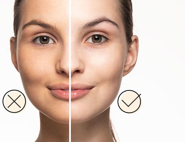 Foundation: Eine Gesichtshälfte ist richtig geschminkt, die andere nicht.