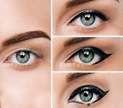 Vorher/Nachher-Effekt unterschiedlicher Eyeliner-Looks